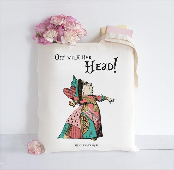 Alice in Wonderland Inspired Tote Bag - Off with her head