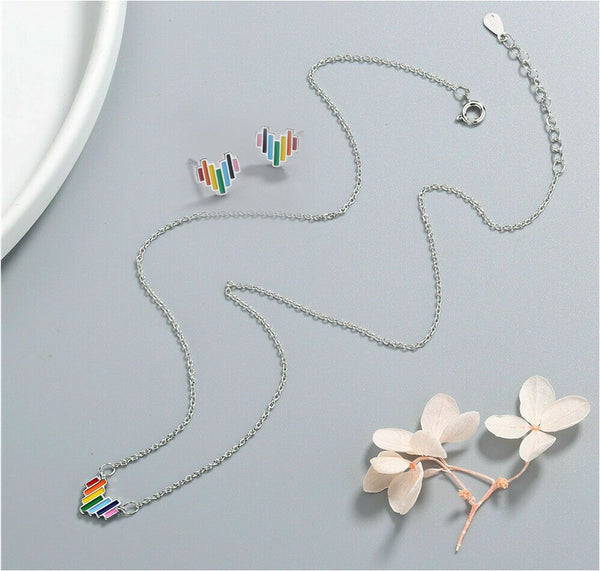 Sterling Silver - Rainbow Heart Necklace and Earring Set