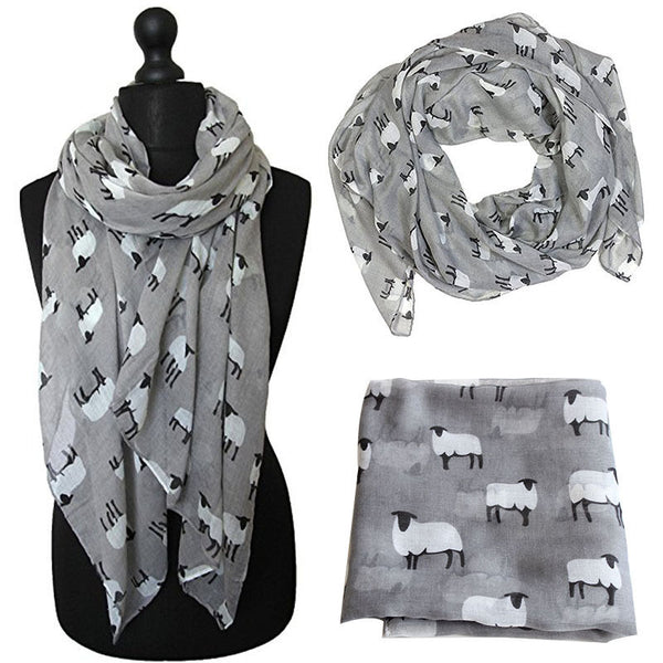 Sheep Design Scarf Grey