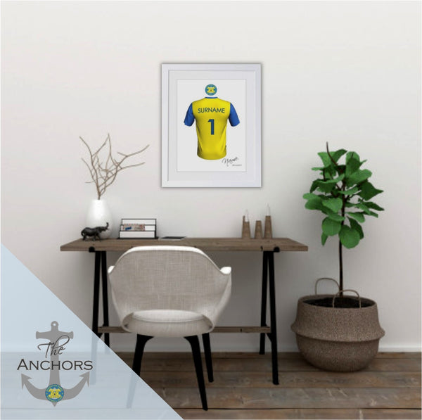 Stockton Town FC - Personalised Football Shirt Framed Print