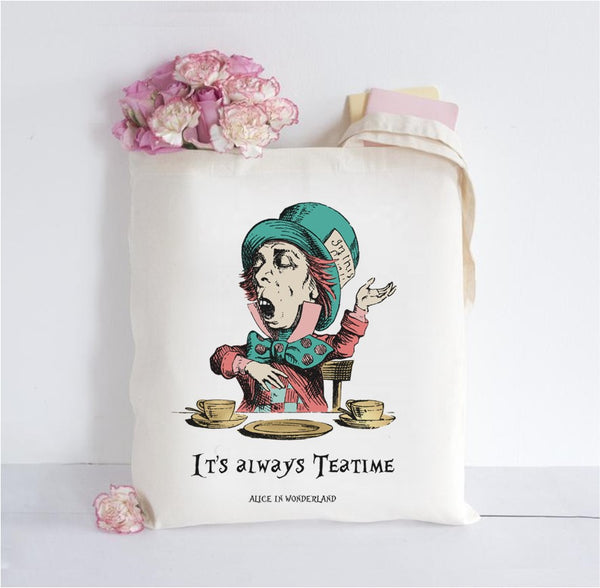 Alice in Wonderland Inspired Tote Bag - Teatime
