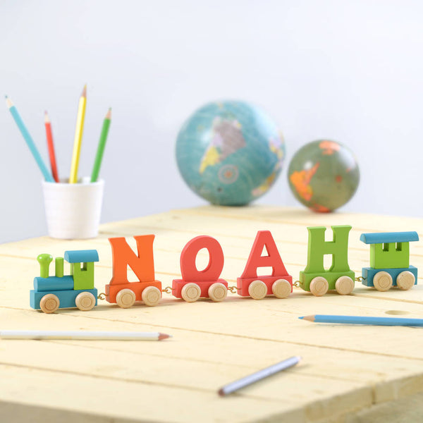 personalised baby / child alphabet letter train carriage name
