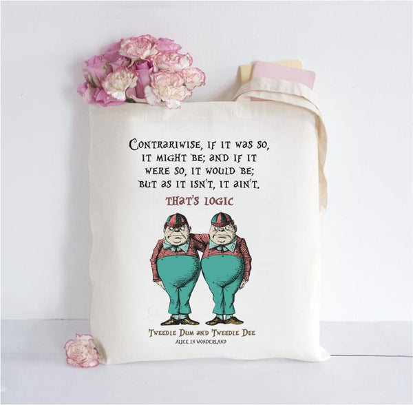 Alice in Wonderland Inspired Tote Bag - Tweedles
