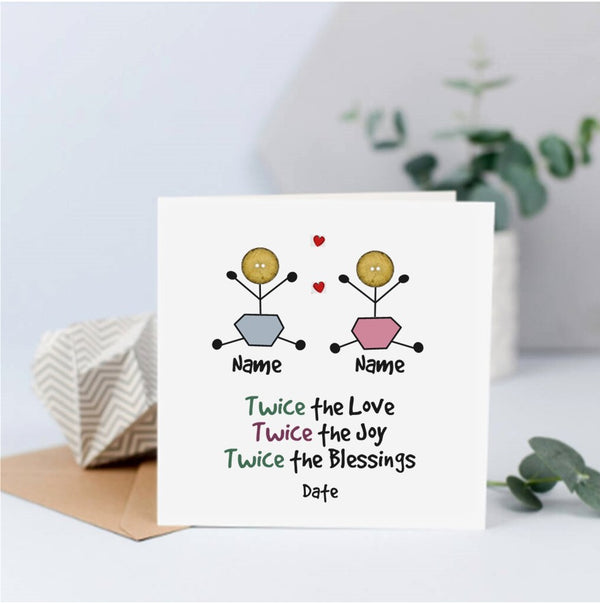 Personalised Baby Twins Card - Button Head Family