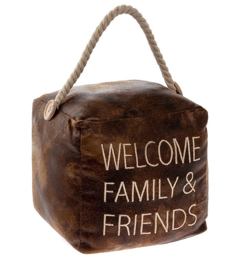 Faux Leather Quote Doorstop - Family and Friends