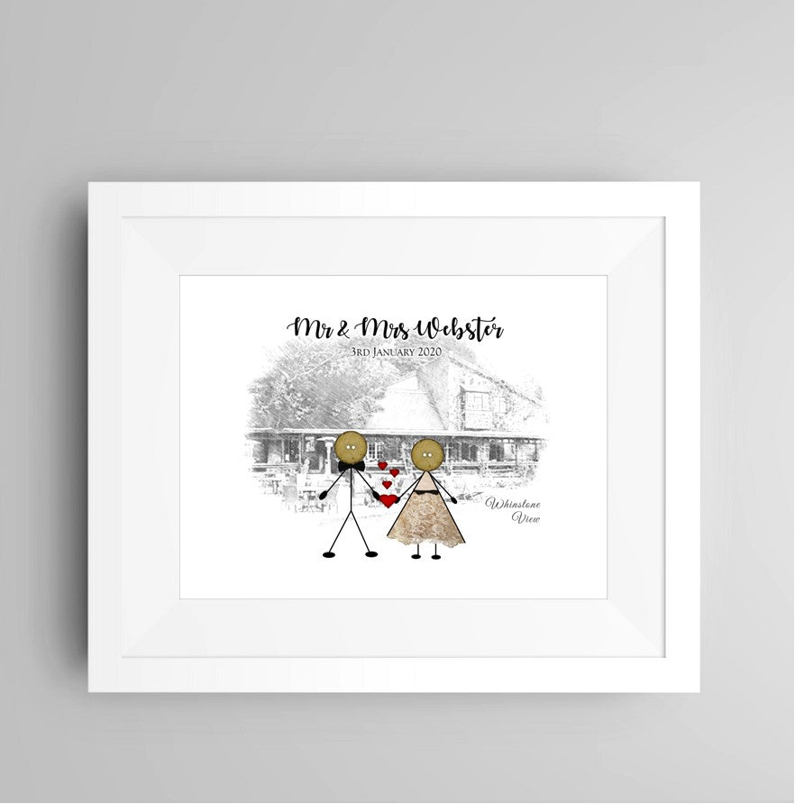 Personalised Wedding Venue Framed Print - Button Head Family
