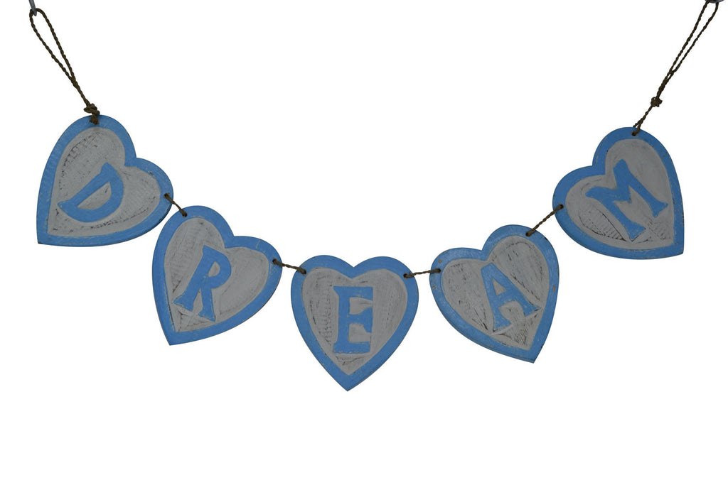 Blue Distressed Wooden DREAM Bunting