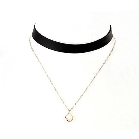 Retro Leather Crystal Choker