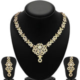 Crystal Brass Choker Necklace Set-Tree