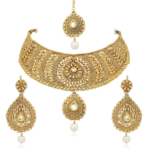 Gold Platted Ethnic Chocker Set