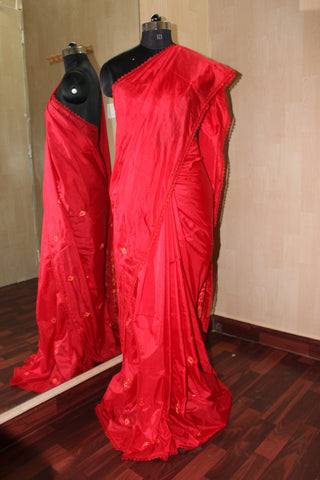 Red Embroidery Silk Saree