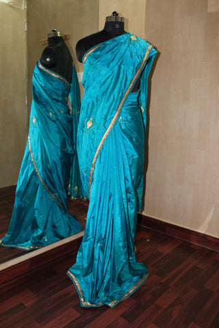 Blue Embroidery Silk Saree