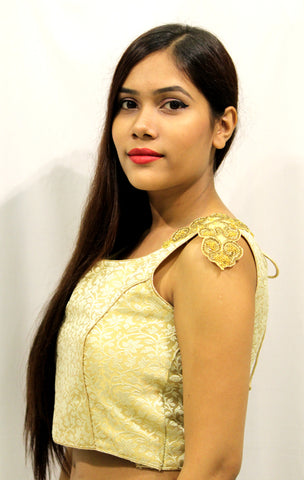 Studded Golden Designer Blouse