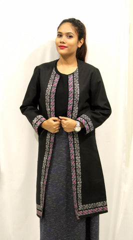 Khadi Overcoat Black with Block Printing