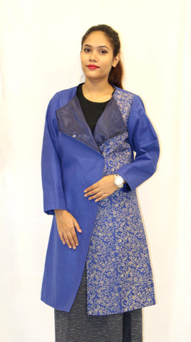 Khadi Overcoat Blue With Block Printing