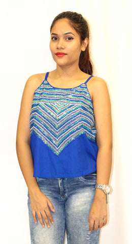 Blue Spaghetti Top With Embroidery