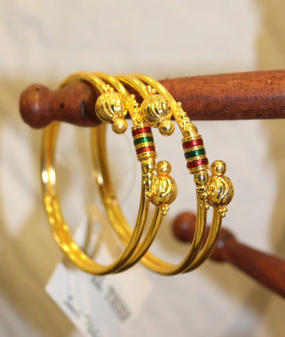 Traditional Red-Green Gold Bangles