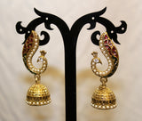 Peacock Red Gold Jhumki