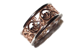 Sterling Silver Two Tone Rose Gold Plated Vines Band Ring