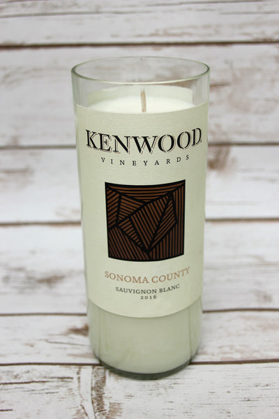 Lavender scented soy candle. Recycled Kenwood Sauvignon Blanc wine bottle