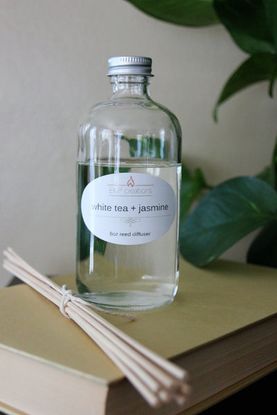 White Tea + Jasmine Reed Diffuser 6oz with Bamboo Reeds