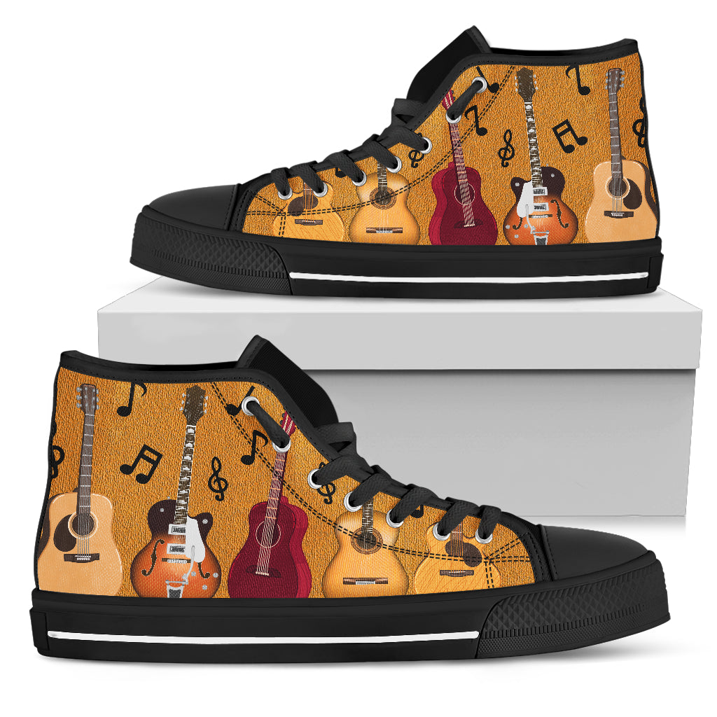 Custom 2018 Guitar Lover Gift Themed Black Shoes/Sneakers - Ladies, Mens