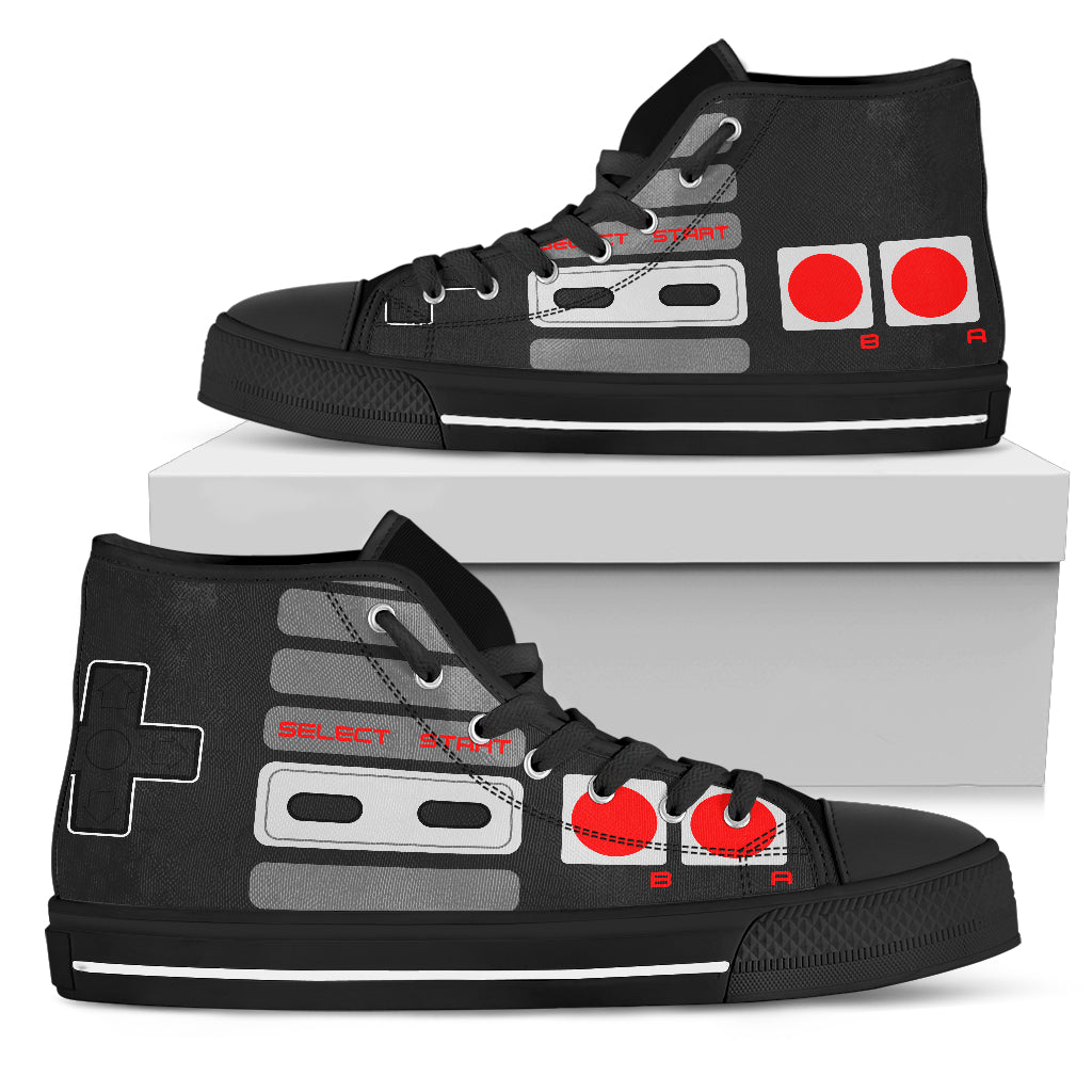 Custom 2018 Retro Gaming Lover Gift Themed Black Shoes/Sneakers - Ladies, Mens