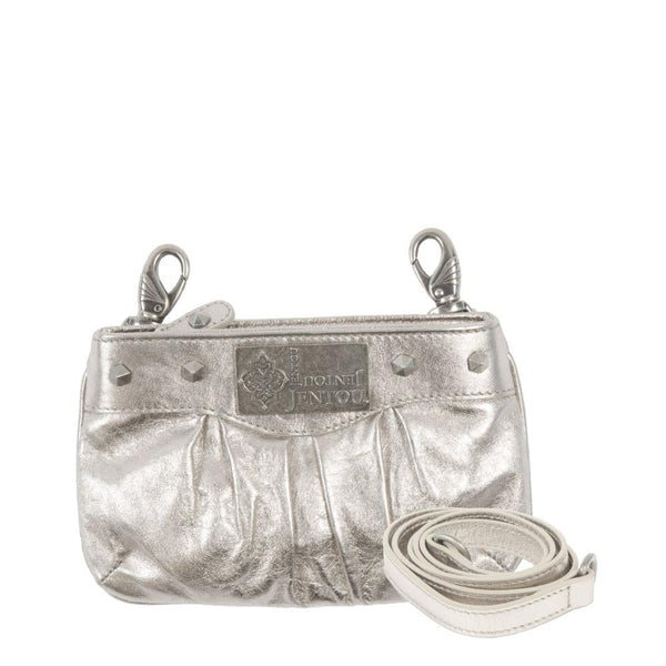 small metallic silver leather crossbody with detachable strap