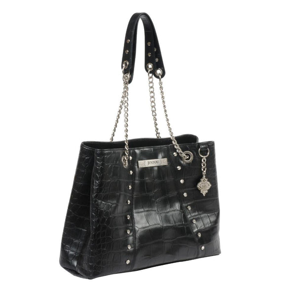 Black croco leather tote with chain strap and studs