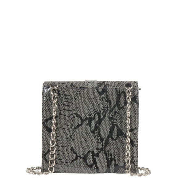 small python leather crossbody clutch with chain strap