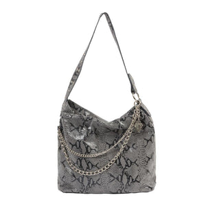 Python Print Leather Shopper Bag with Chain
