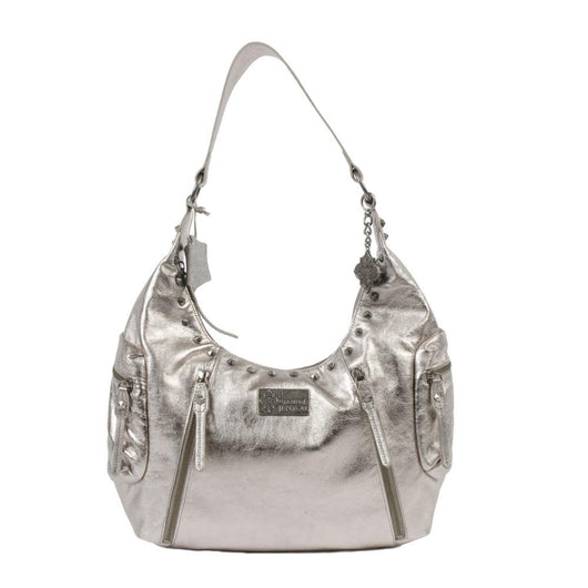Metallic silver leather hobo bag with studs