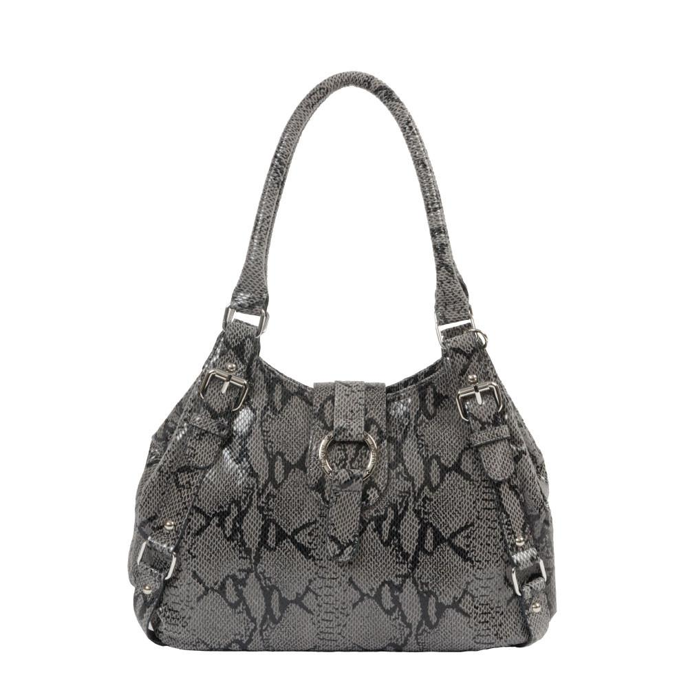 Python print leather bucket bag
