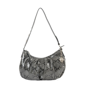 Python Print Leather Shoulder Bag