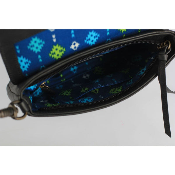 Small black leather crossbody tribal print lining