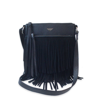 Black fringe leather crossbody