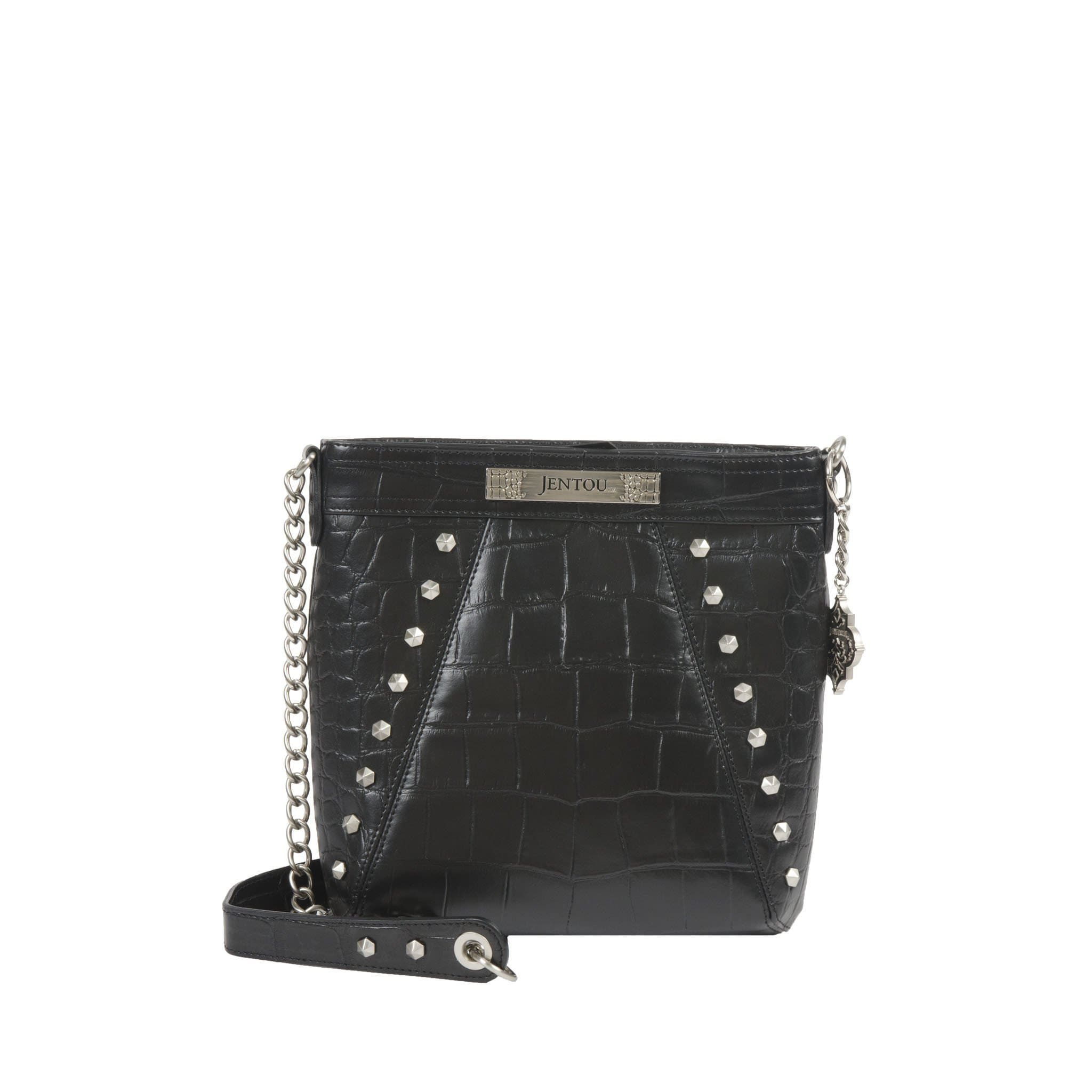 Black croc leather crossbody with chain strap and studs