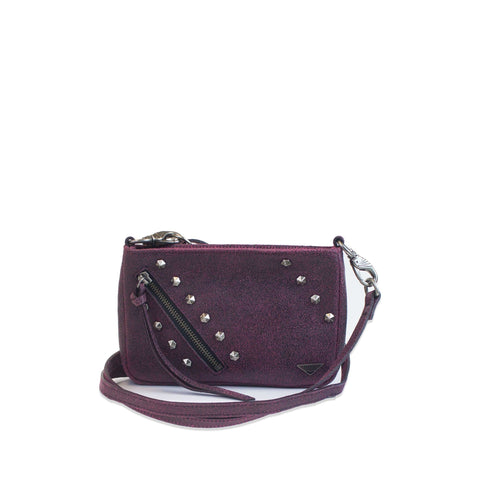 small pink burgundy leather crossbody with studs