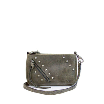 small brown tan leather crossbody with studs