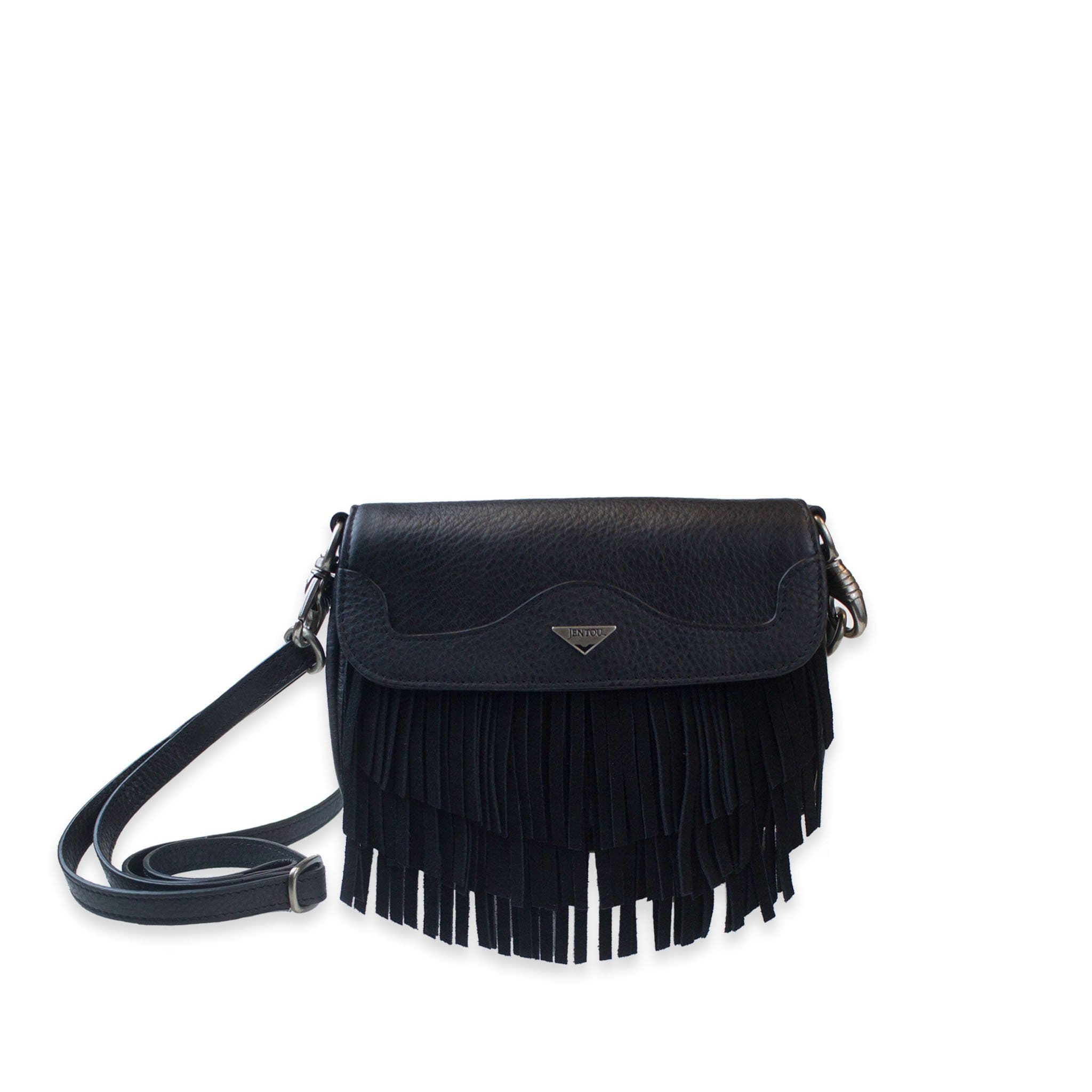 small black fringe crossbody