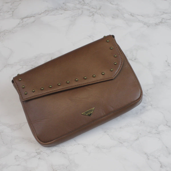 brown tan convertible crossbody clutch