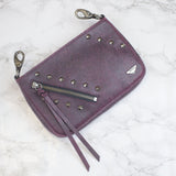 small pink burgundy leather crossbody with detachable strap
