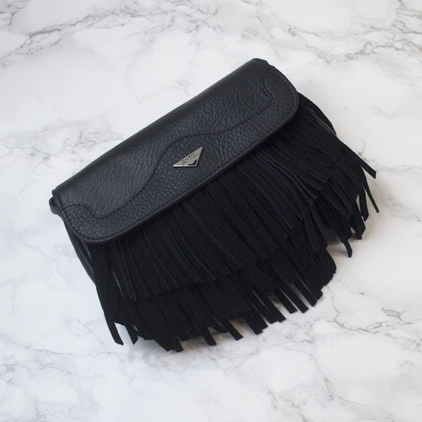 small black fringe crossbody clutch