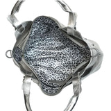 Metallic silver leather satchel with silver leopard lining