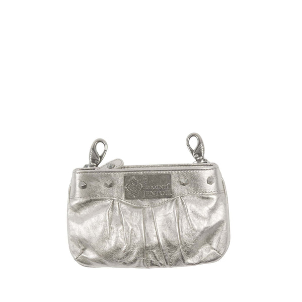 small metallic silver leather crossbody fanny pack with detachable strap