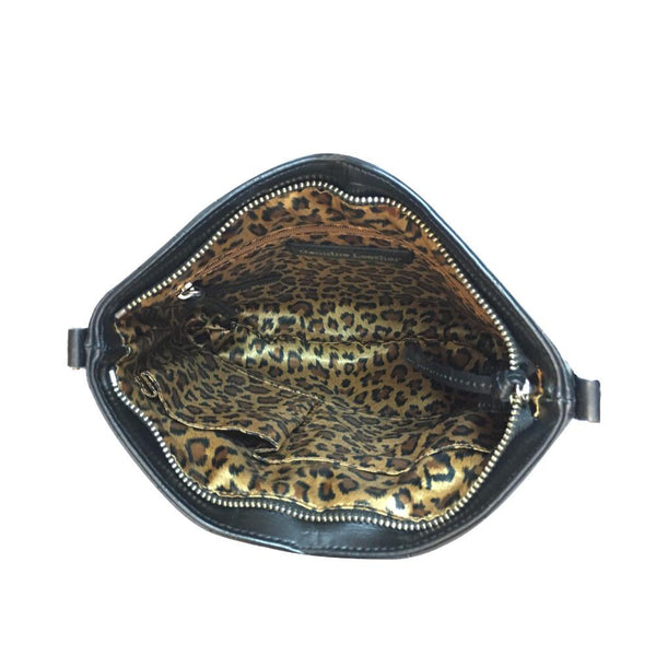 Black crossbody bag with gold leopard lining