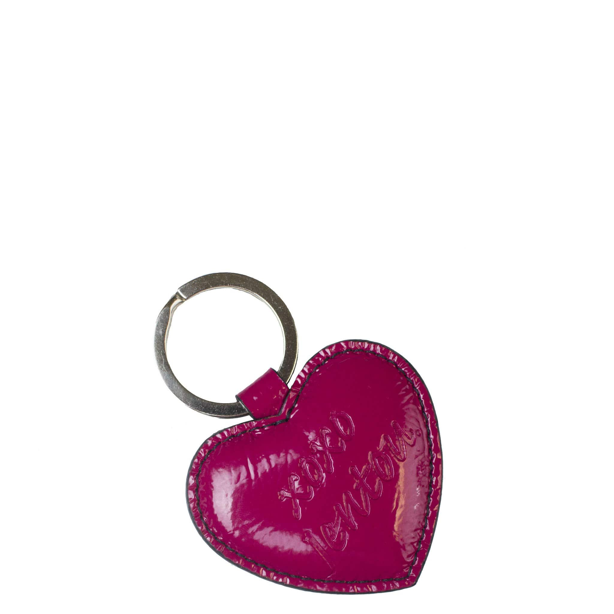 pink fuchsia heart key fob chain ring