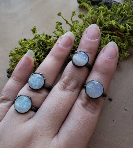 Moonmen - Rainbow Moonstone Rings