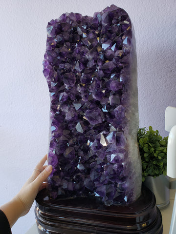Tall Polished Amethyst Cluster Display