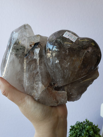 Brazilian Smoky Quartz Heart Carving